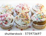 colorful cupcakes with white... | Shutterstock . vector #575973697