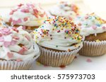 colorful cupcakes with white... | Shutterstock . vector #575973703