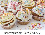 colorful cupcakes with white...   Shutterstock . vector #575973727