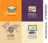 education flat icons ... | Shutterstock .eps vector #575989483
