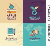 education flat icons  apple on... | Shutterstock .eps vector #575989627