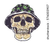 rasta skull in hat with... | Shutterstock .eps vector #576003907