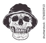 skull in hat. detailed... | Shutterstock .eps vector #576003913
