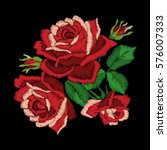 Red Roses Embroidery On Black...