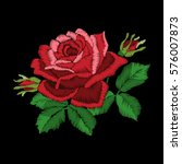 red roses embroidery on black... | Shutterstock .eps vector #576007873