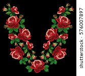 red roses embroidery with... | Shutterstock .eps vector #576007897