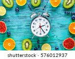 alarm clock   time to breakfast ... | Shutterstock . vector #576012937