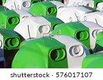 new bins of sorted waste... | Shutterstock . vector #576017107