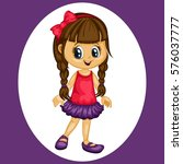 Cute Cartoon Happy Girl...