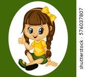 cute cartoon girl illustration... | Shutterstock .eps vector #576037807