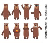 set funny brown bear in... | Shutterstock .eps vector #576051883