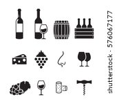 wine icons set. black on a... | Shutterstock .eps vector #576067177