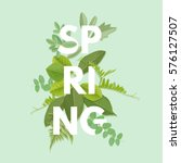 spring letter with green leaves.... | Shutterstock .eps vector #576127507