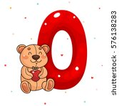 cute teddy bear and letter o ... | Shutterstock .eps vector #576138283