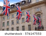 London Uk Flags In Piccadilly...