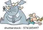 cartoon elephant sitting on a... | Shutterstock .eps vector #576185497