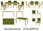 wooden table and chairs with... | Shutterstock . vector #576189913
