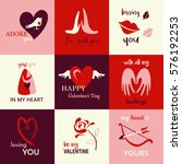 happy valentine's day icons | Shutterstock .eps vector #576192253