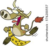 cartoon cow jumping over the...   Shutterstock .eps vector #576200557