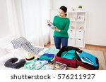 tourism  people and luggage... | Shutterstock . vector #576211927