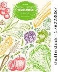 vegetables top view frame.... | Shutterstock .eps vector #576223087