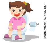 a little girl is sitting on the ... | Shutterstock .eps vector #576237187
