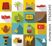 turkey travel icons set. flat... | Shutterstock . vector #576261643