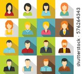 various people icons set. flat... | Shutterstock . vector #576264343