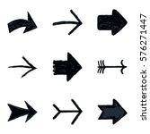 set of nine black arrow sign... | Shutterstock .eps vector #576271447