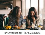 funny girls meeting up for... | Shutterstock . vector #576283303