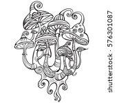 group of decorative mushrooms | Shutterstock .eps vector #576301087