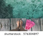 summer holiday fashion selfie... | Shutterstock . vector #576304897