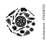 vector black pizza icon on... | Shutterstock .eps vector #576328753