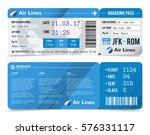 colored realistic boarding pass ... | Shutterstock .eps vector #576331117