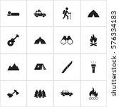 set of 16 editable travel icons....