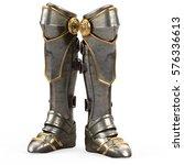 iron fantasy high boots knight...