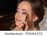 wedding make up for beautiful... | Shutterstock . vector #576341173
