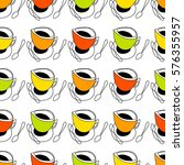 coffee and tea cups in bright... | Shutterstock . vector #576355957