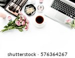 office table desk. laptop ... | Shutterstock . vector #576364267