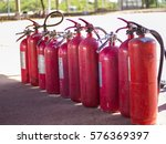 red fire extinguishers. closeup ... | Shutterstock . vector #576369397