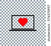 laptop with heart icon vector ... | Shutterstock .eps vector #576370957