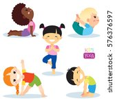 cute kids in different yoga...   Shutterstock .eps vector #576376597