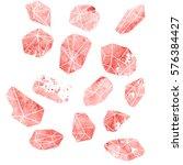 set crystals of watercolor.... | Shutterstock . vector #576384427
