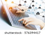 social connection and... | Shutterstock . vector #576394417