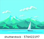 sea landscape with mountains. | Shutterstock .eps vector #576422197