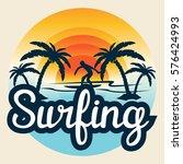 surf  surfing  water sport... | Shutterstock .eps vector #576424993