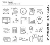 Big set of symbols of tax payment. Modern flat line icons design. Vector background with black and white elements collection, logo.Illustration with business icon, finance icon | Shutterstock vector #576436657