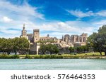 popes palace and rhone river in ... | Shutterstock . vector #576464353