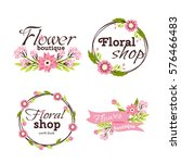 floral shop badge decorative... | Shutterstock .eps vector #576466483