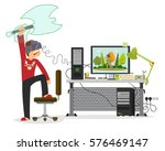 young man playing in a virtual... | Shutterstock .eps vector #576469147